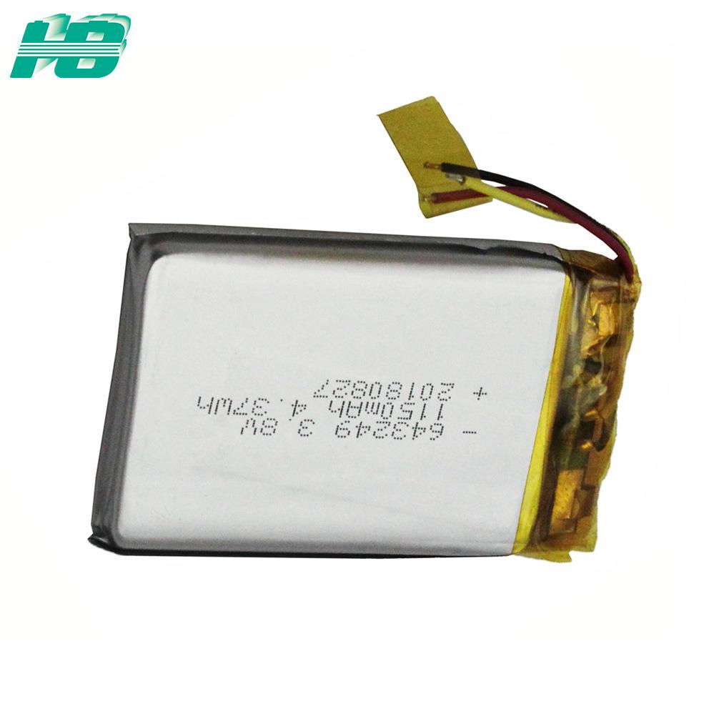 643249聚合物锂电池1150mAh聚合物<em>电池</em>3.8V软包<em>电池</em>定制厂家直销