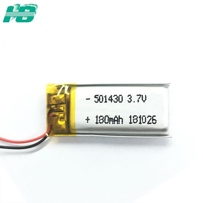 按需订制501430聚合物锂电池180mAh蓝牙<em>电池</em>有KC认证3.7V软包<em>电池</em>